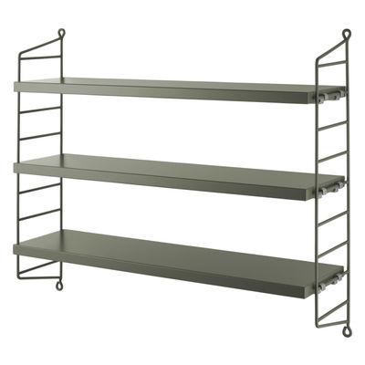 Möbel - Regale und Bücherregale - String® Pocket Regal / MDF - L 60 x H 50 cm - String Furniture - Salbeigrün - lackierter Stahl, mitteldichte bemalte Holzfaserplatte