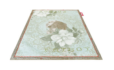 Decoration - Rugs - Non Flying Carpet Rug - No dogs allowed /180 x 140 cm by Fatboy - Blue / Dog and flower print - Foam, Polyester fabric