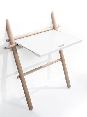 Arredamento - Mobili da ufficio - Scrivania Appunto - pieghevole / Tavolino di ENOstudio - Faggio / top bianco - Faggio massello, Hêtre peint