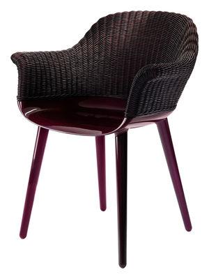 Möbel - Stühle  - Cyborg Cozy Sessel geflochtene Rückenlehne - limitierte Farb-Auflage - Magis - Rückenlehne: Weide pflaumenfarben / Gestell: pflaume-glänzend - Osier, Polykarbonat