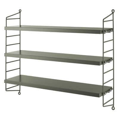 Furniture - Bookcases & Bookshelves - String® Pocket Shelf - / MDF - L 60 x H 50 cm by String Furniture - Sage green - Lacquered steel, Painted MDF