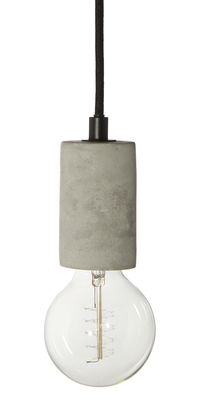 Illuminazione - Lampadari - Sospensione Bristol - / Cemento di Frandsen - Cemento / Cavo nero - Calcestruzzo, Tessuto