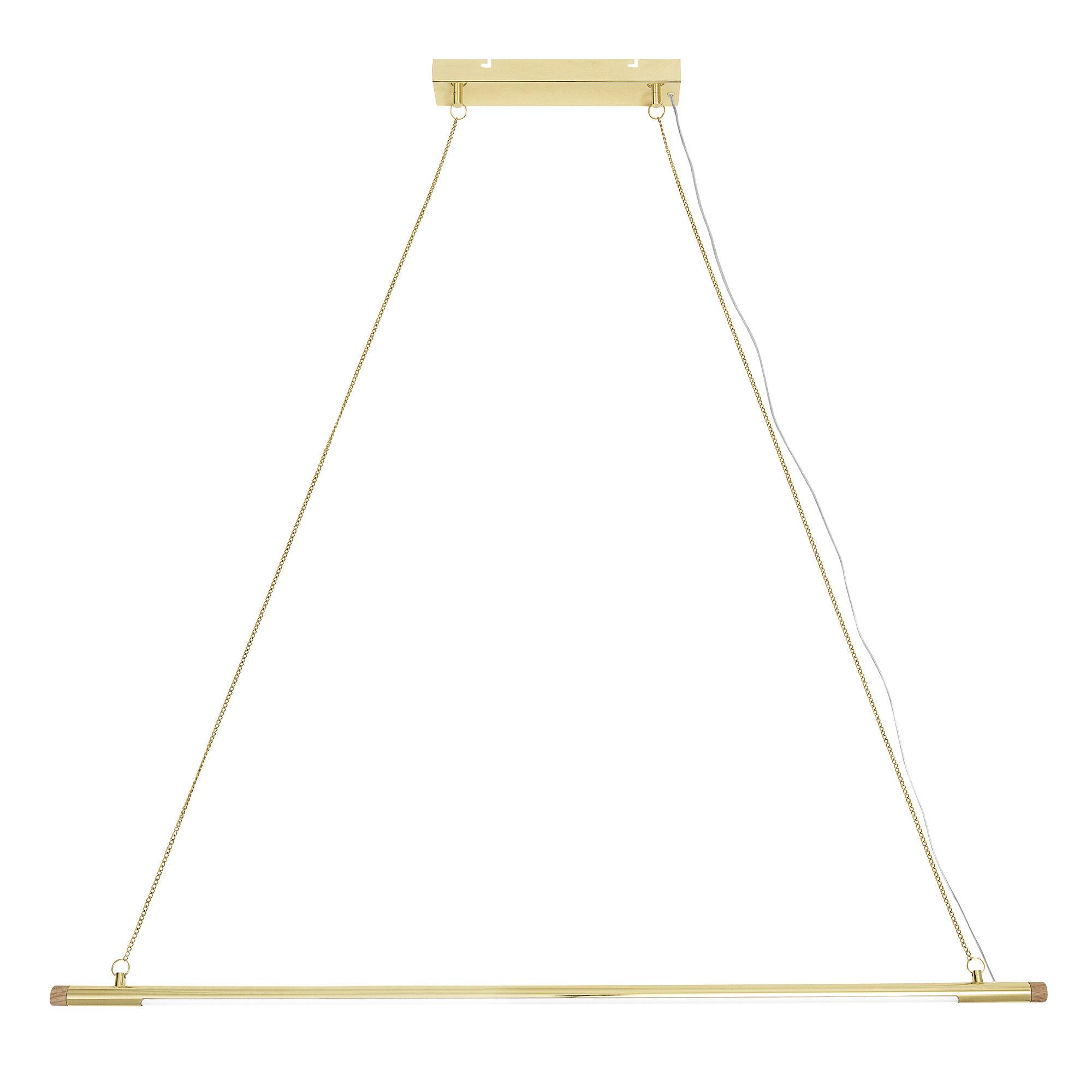 Illuminazione - Lampadari - Sospensione Gold LED - / Metallo & Rovere - L 124 cm di Bloomingville - Oro & frassino - Frêne massif naturel, Metallo