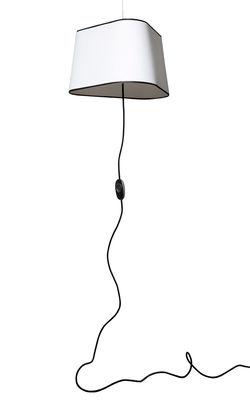 Illuminazione - Lampadari - Sospensione Grand Nuage di Designheure - Tessuto filtrante bianco / Bordo nero - cordone nero - policarbonato, Tessuto
