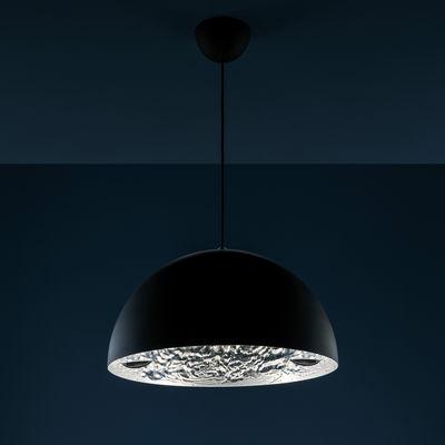 Illuminazione - Lampadari - Sospensione Stchu-moon 02 - Ø 40 cm di Catellani & Smith - Esterno nero / Interno argento - Alluminio, Foglio argentato, Schiuma di poliuretano
