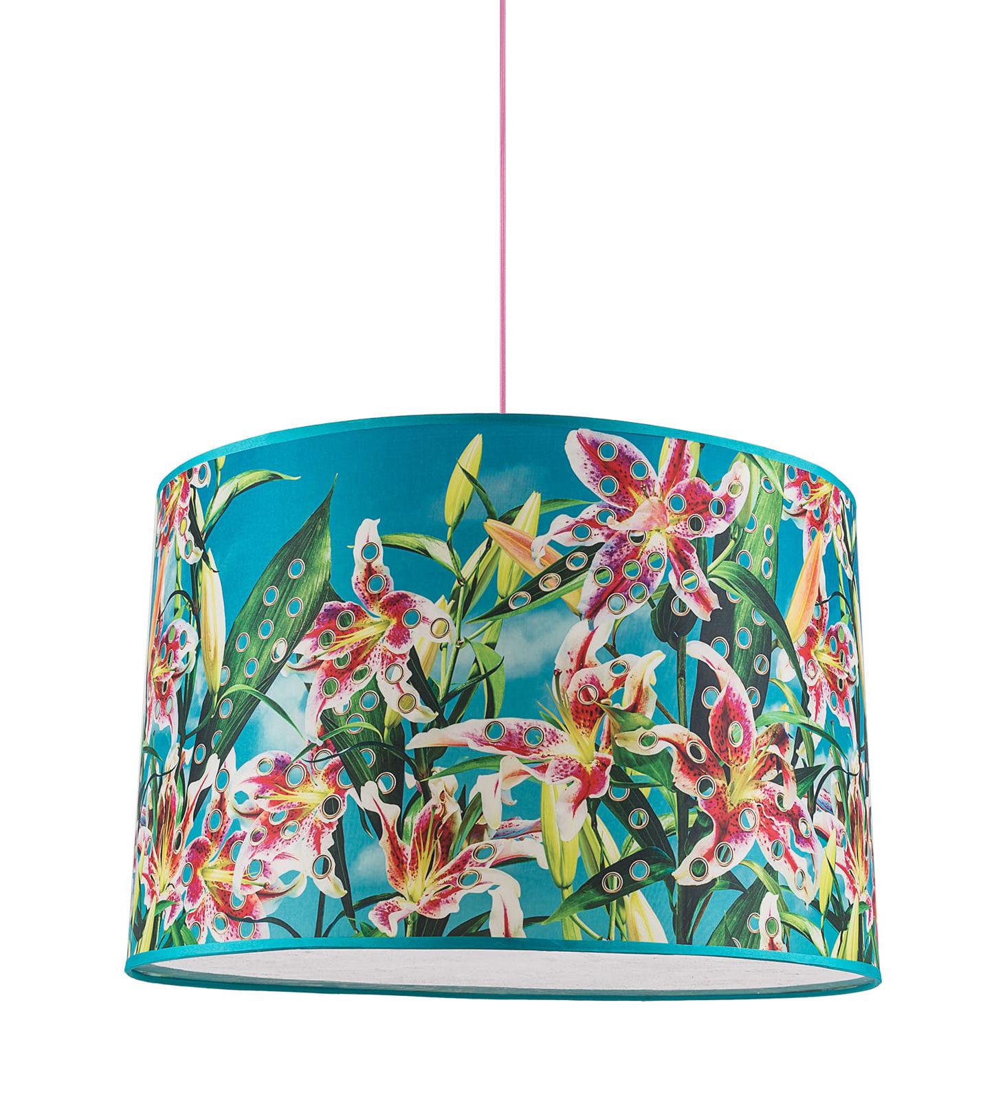 Illuminazione - Lampadari - Sospensione Toiletpaper Large - / Flower with holes - Ø 52 cm di Seletti - Fiori crivellati - Plexiglas - Câble tissu