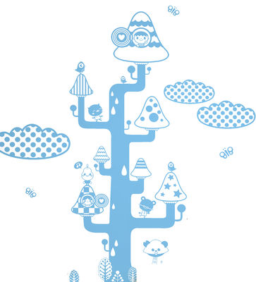 Interni - Sticker - Sticker Mushroom tree di Domestic - Bleu - Vinile
