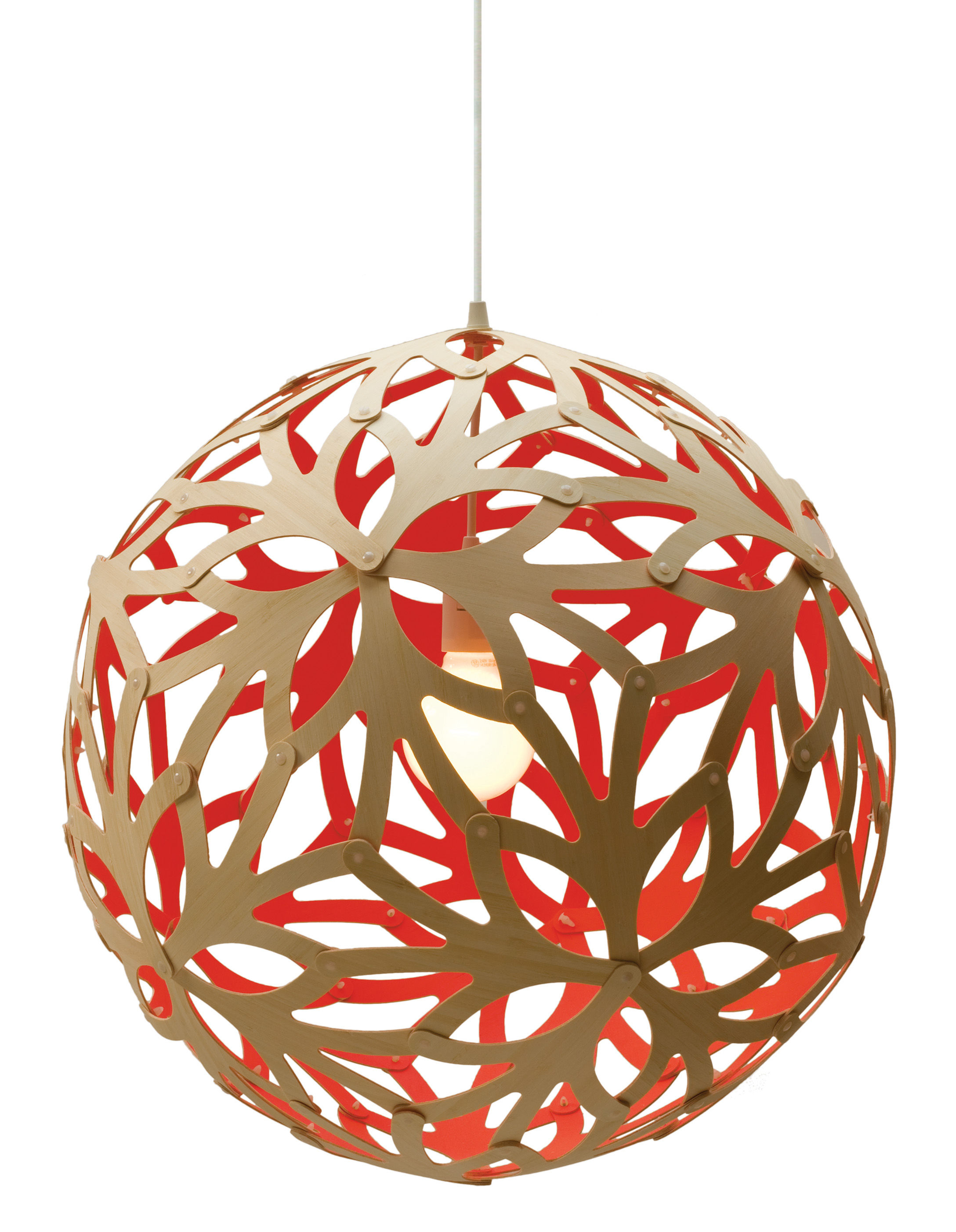 Luminaire - Suspensions - Suspension Floral / Ø 40 cm - Bicolore rouge & bois - David Trubridge - Rouge / Bois naturel - Pin