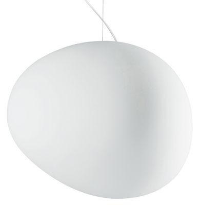 Suspension Gregg Grande / Verre - L 47 cm - Foscarini blanc en verre
