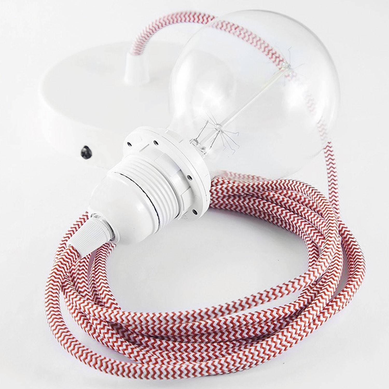 Luminaire - Suspensions - Suspension / Set câble tissu, rosace, douille E27 - Koziol - Rouge & blanc - Métal, Plastique, Tissu