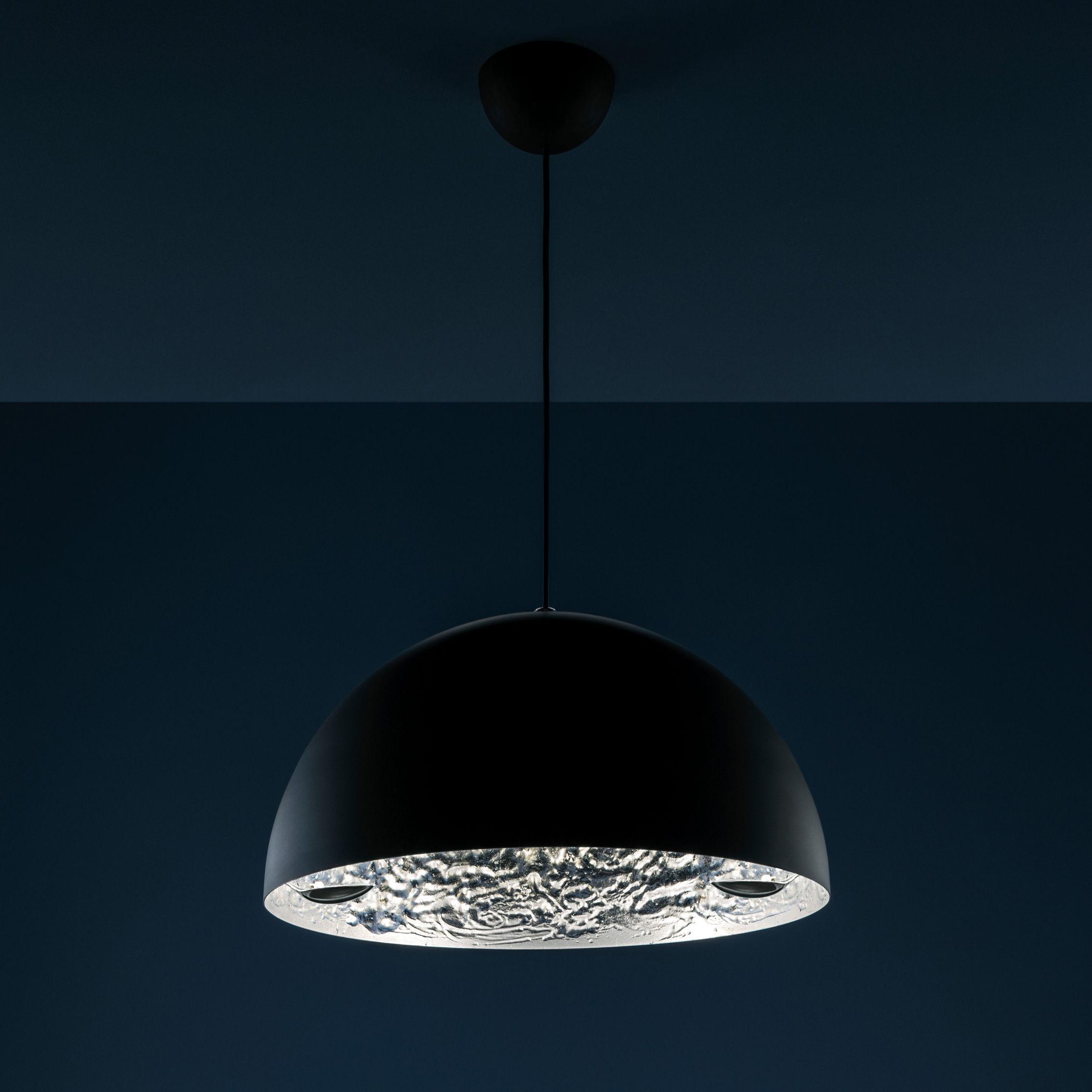 Luminaire - Suspensions - Suspension Stchu-moon 02 / LED - Ø 40 cm - Cuillères - Catellani & Smith - Noir & argent / Cuillères métal - Aluminium, Feuille argentée, Mousse polyuréthane