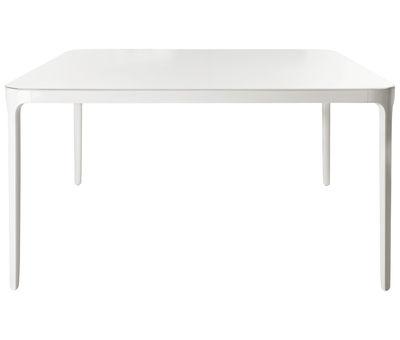 Mobilier - Tables - Table à rallonge Vanity / L 160 à 220 cm - Magis - Blanc - L 160/220 cm - Aluminium verni, Verre trempé verni