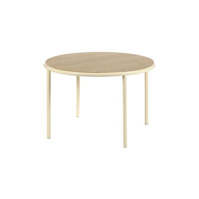 Table ronde Wooden / Ø 120 cm - Chêne & acier - valerie objects blanc/beige/bois naturel en bois