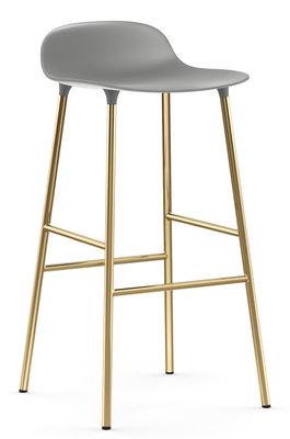 Tabouret de bar Form / H 75 cm - Pied laiton - Normann Copenhagen gris,laiton en métal