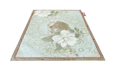 Déco - Tapis - Tapis Non Flying Carpet / No dogs allowed - 180 x 140 cm - Fatboy - Chien et fleurs / Bleu-vert - Mousse, Tissu polyester