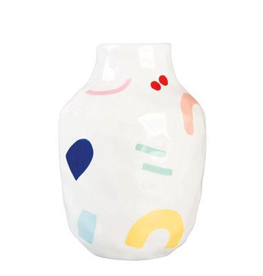 Vase Painted graphic Large / Porcelaine - H 22 cm - & klevering muticolore en céramique
