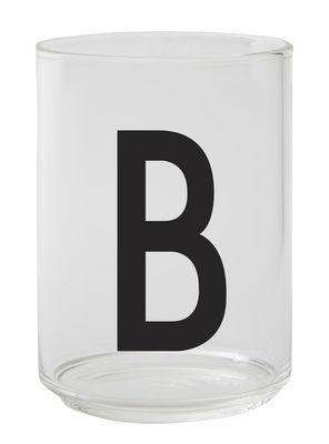 Verre Arne Jacobsen / Verre borosilicaté - Lettre B - Design Letters transparent en verre