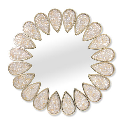 Decoration - Mirrors - Petal Wall mirror - / Mother-of-pearl mosaic -  Ø 81 cm by Jonathan Adler - Pearly white / Gold - Pearly, Polished brass