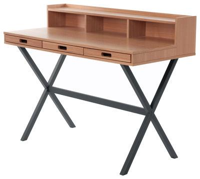 Furniture - Office Furniture - Hyppolite Writing desk by Hartô - Dark grey - Lacquered metal, MDF veneer oak