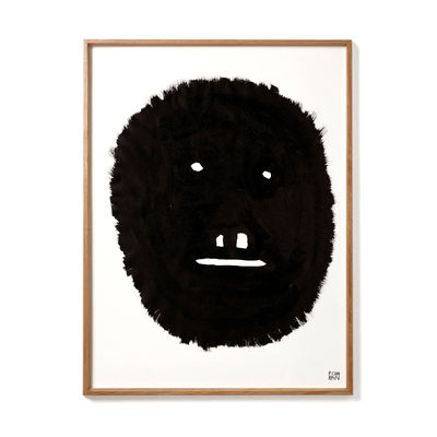 Déco - Stickers, papiers peints & posters - Affiche encadrée Pierre Charpin - Wise Monkey / Edition limitée & numérotée - 50,6 x 66,5 cm - The Wrong Shop - Wise Monkey / Noir & cadre chêne - Chêne, Papier premium, Plexiglass