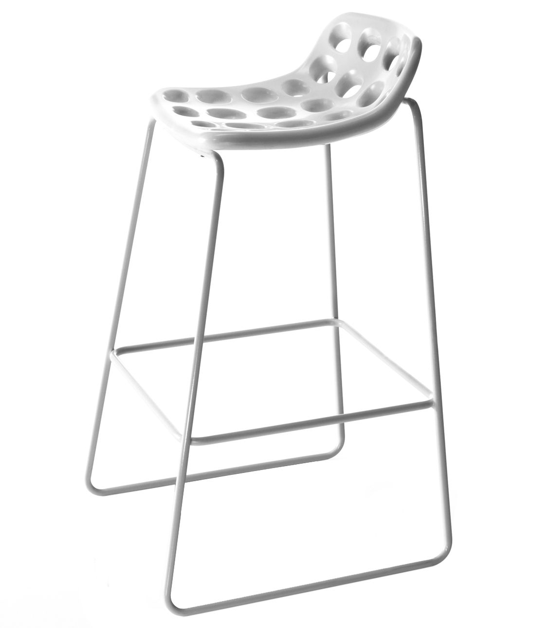 Furniture - Bar Stools - Chips Bar stool - H 85 cm - Plastic seat by MyYour - White - Painted stainless steel, Polythene