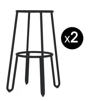 Möbel - Barhocker - Huggy Barhocker / H 75 cm - 2er-Set - Maiori - Anthrazit - Aluminium laqué époxy