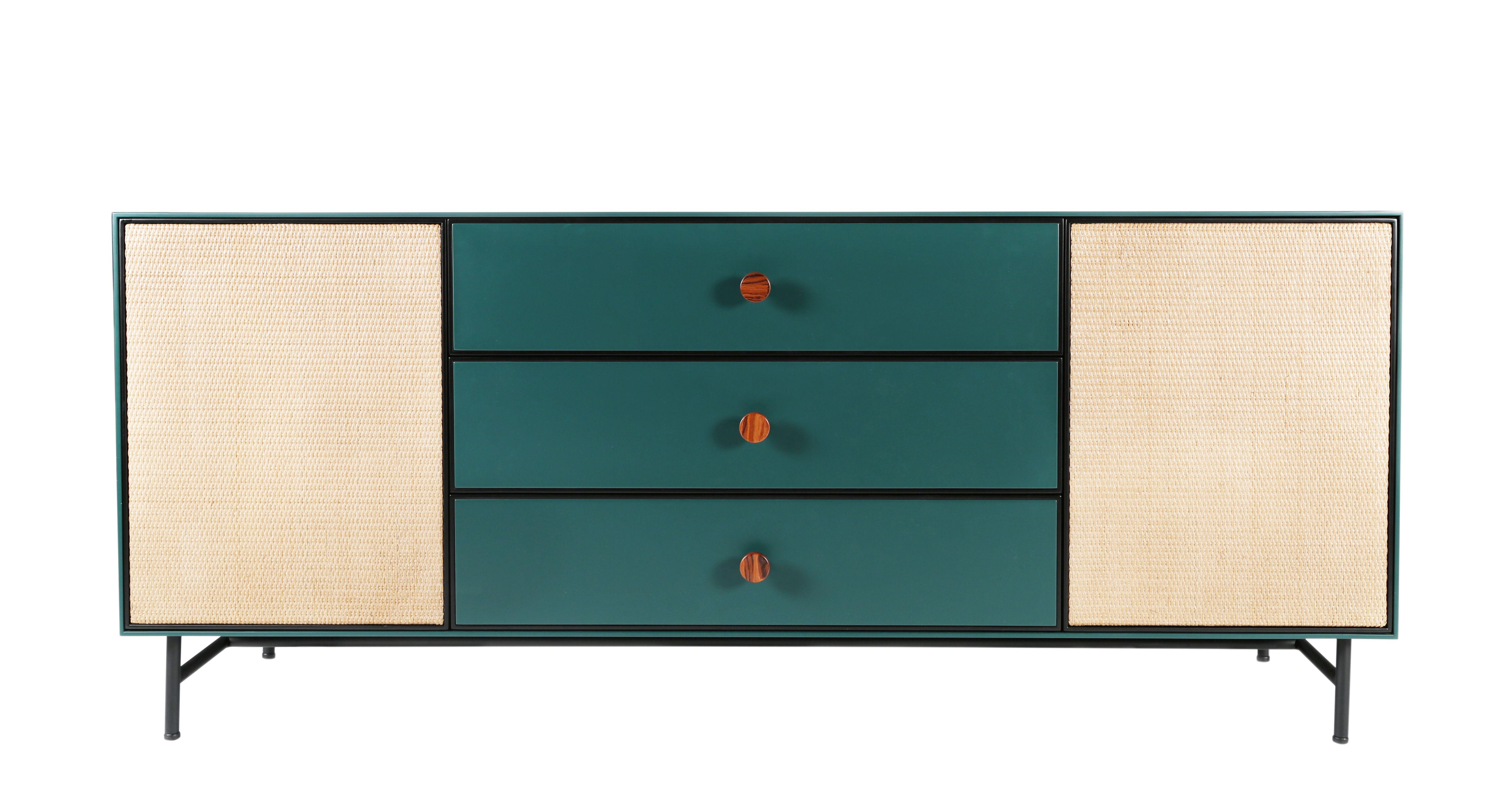 Arredamento - Contenitori, Credenze... - Buffet Essence - / Legno & Rattan di Maison Sarah Lavoine - Blu Sarah & rattan - Acciaio laccato, Legno laccato, Midollino, Palissandro, Velluto