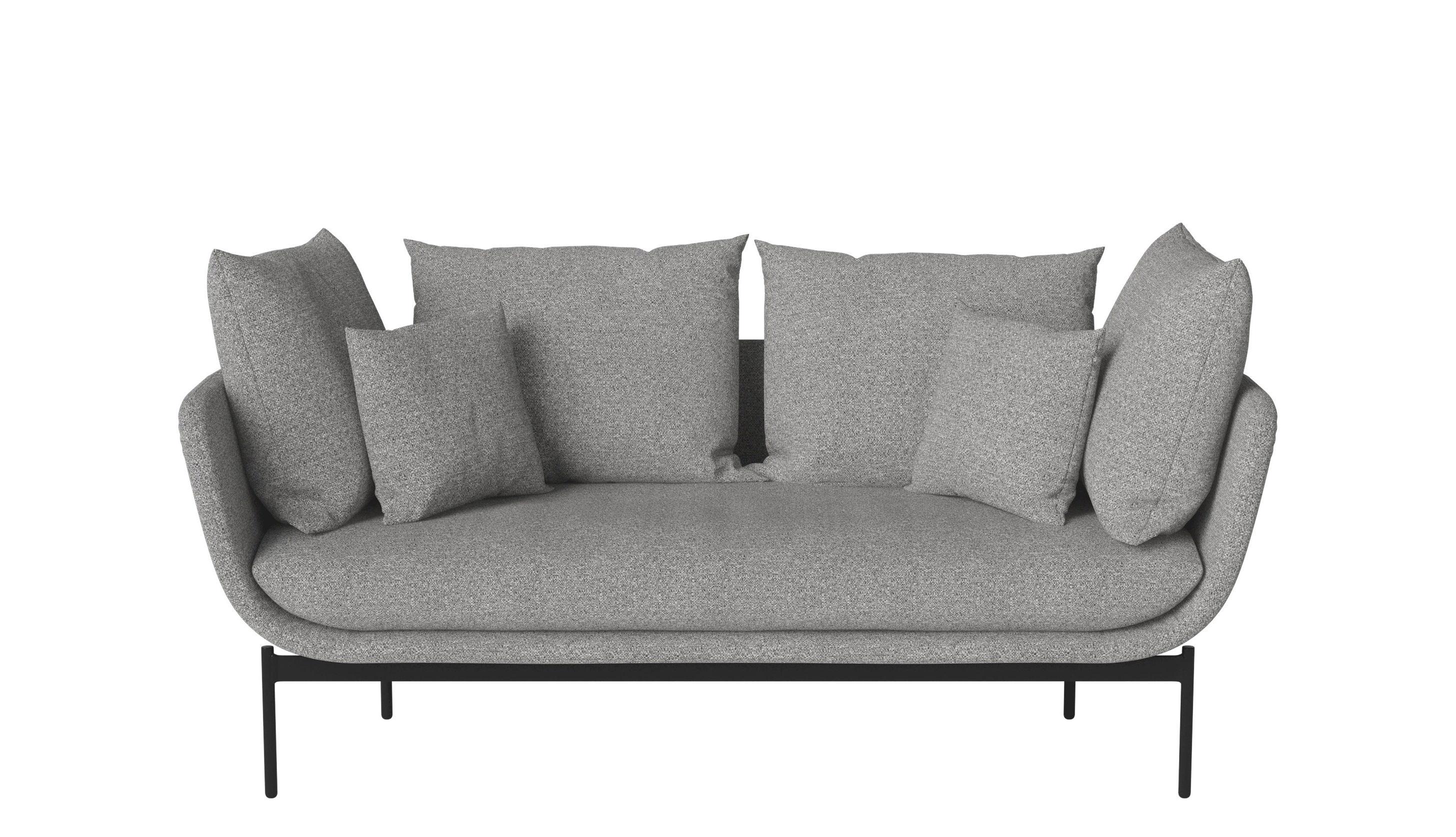 Mobilier - Canapés - Canapé droit Gaia / 2 places - L 185 cm - Bolia - Gris clair - Acier laqué, Mousse froide, Plume, Tissu Hazel