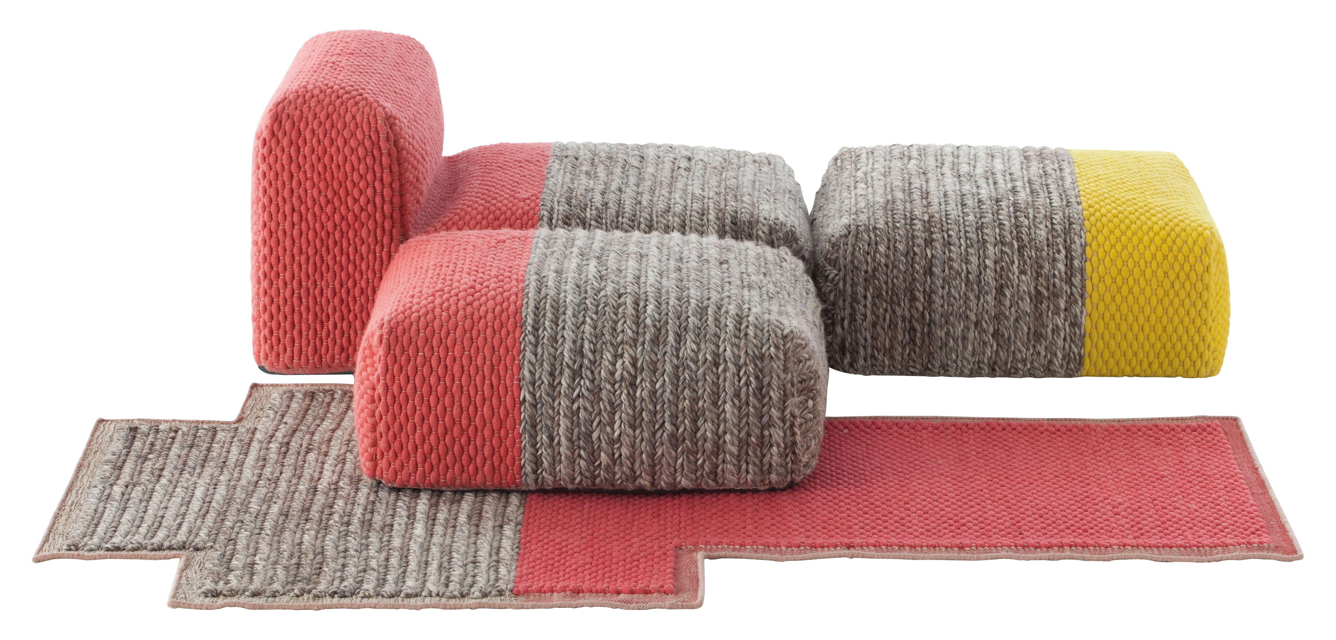 Mobilier - Fauteuils - Canapé modulable n°1 Mangas Space / 1 chauffeuse + 2 poufs + 1 tapis - Gan - Jaune & Corail - Laine vierge, Mousse caoutchouc