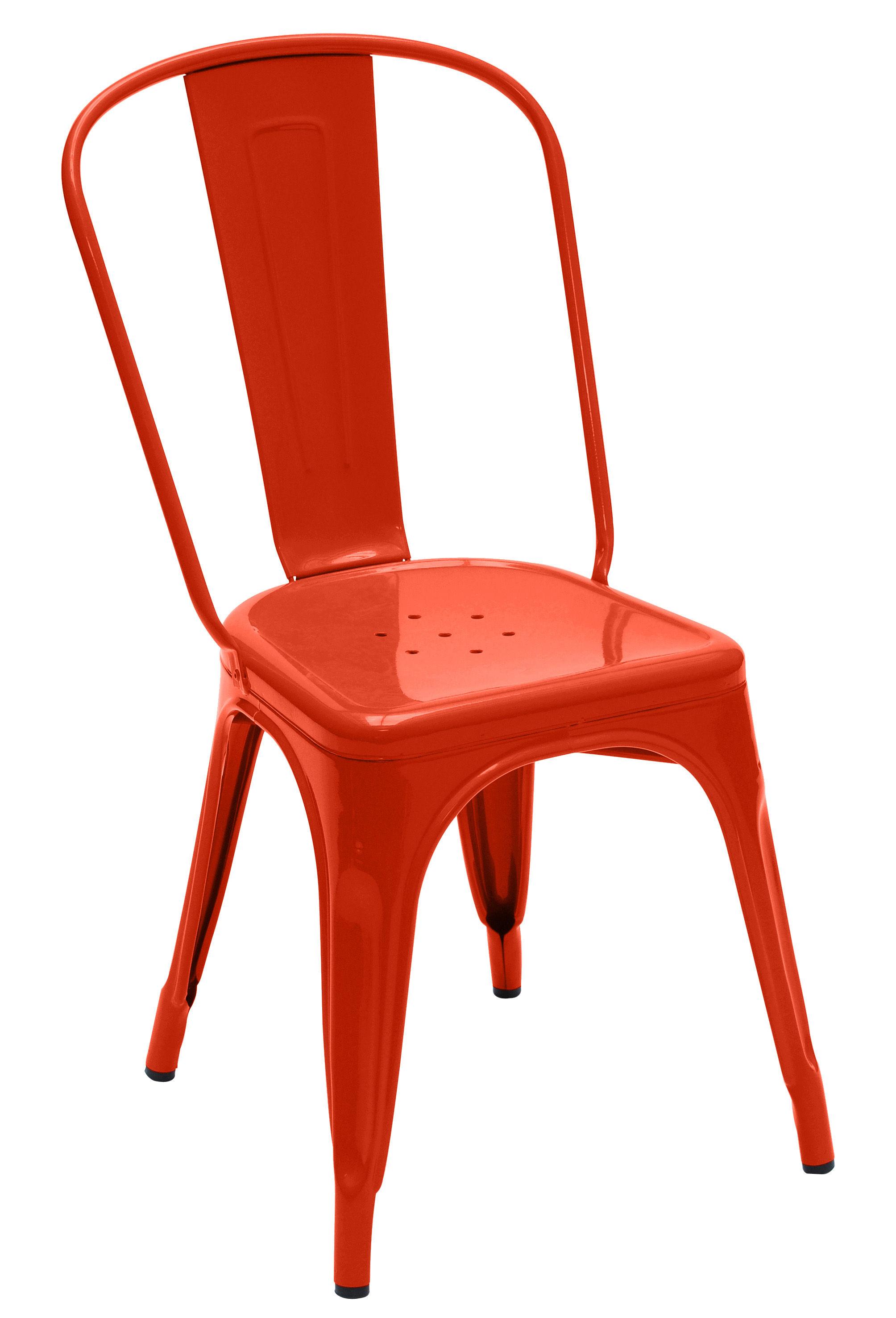 Mobilier - Chaises, fauteuils de salle à manger - Chaise empilable A / Acier - Couleur brillante - Tolix - Orange (brillant) - Acier laqué