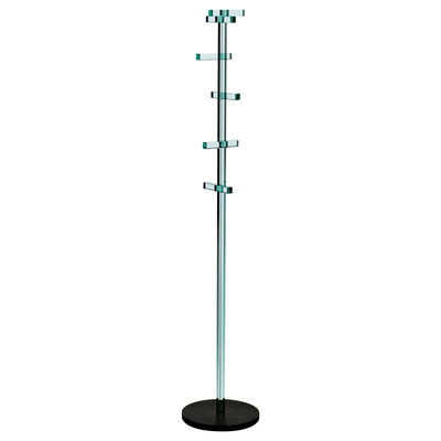 Furniture - Coat Racks & Pegs - Telegrafo Coat stand by Glas Italia - Transparent & Black raw Iron base - Glass, Iron