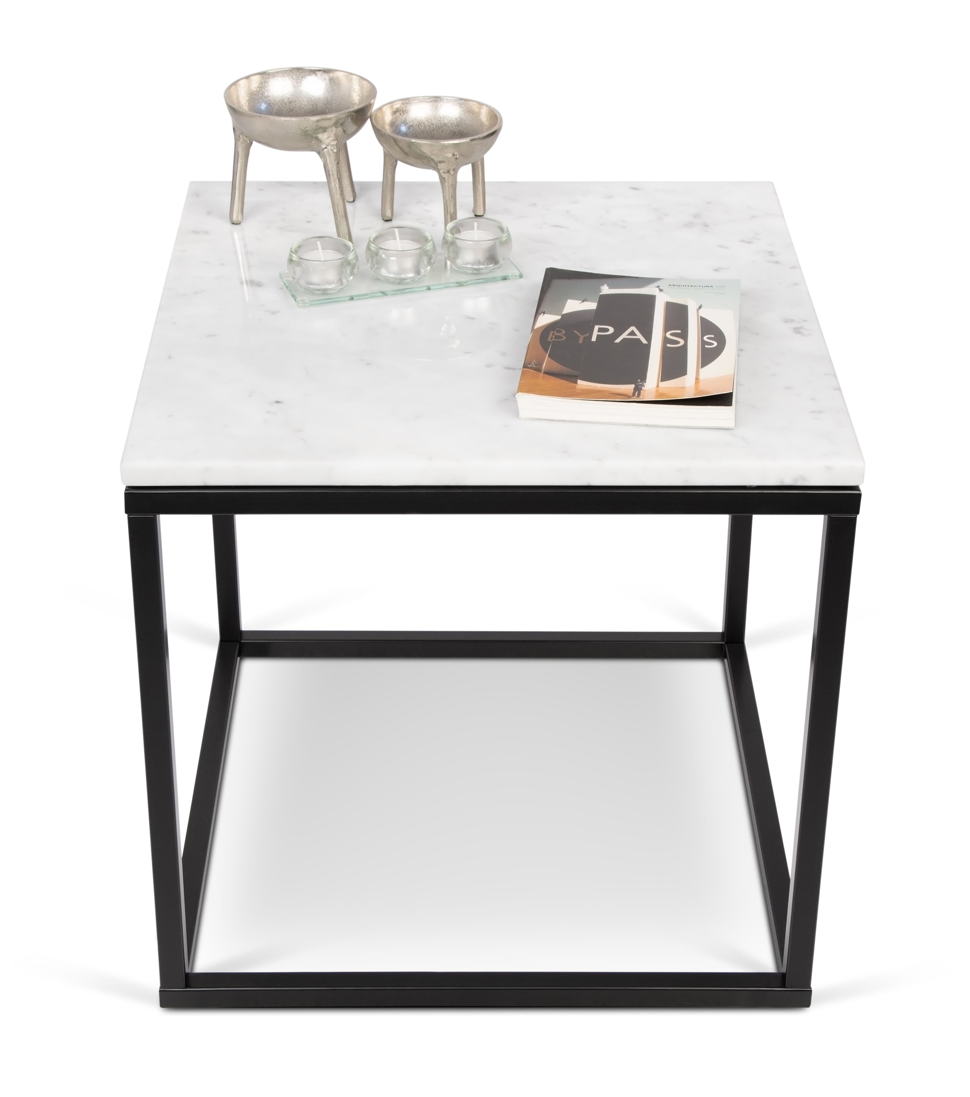 Marble Coffee Table With Metal Legs: 50 X 50cm White Marble
