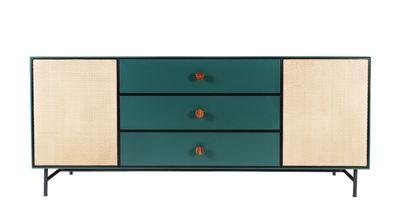 Furniture - Dressers & Storage Units - Essence Dresser - / Wood & rattan by Maison Sarah Lavoine - Sarah blue & rattan - Lacquered steel, Lacquered wood, Rattan, Rosewood, Velvet