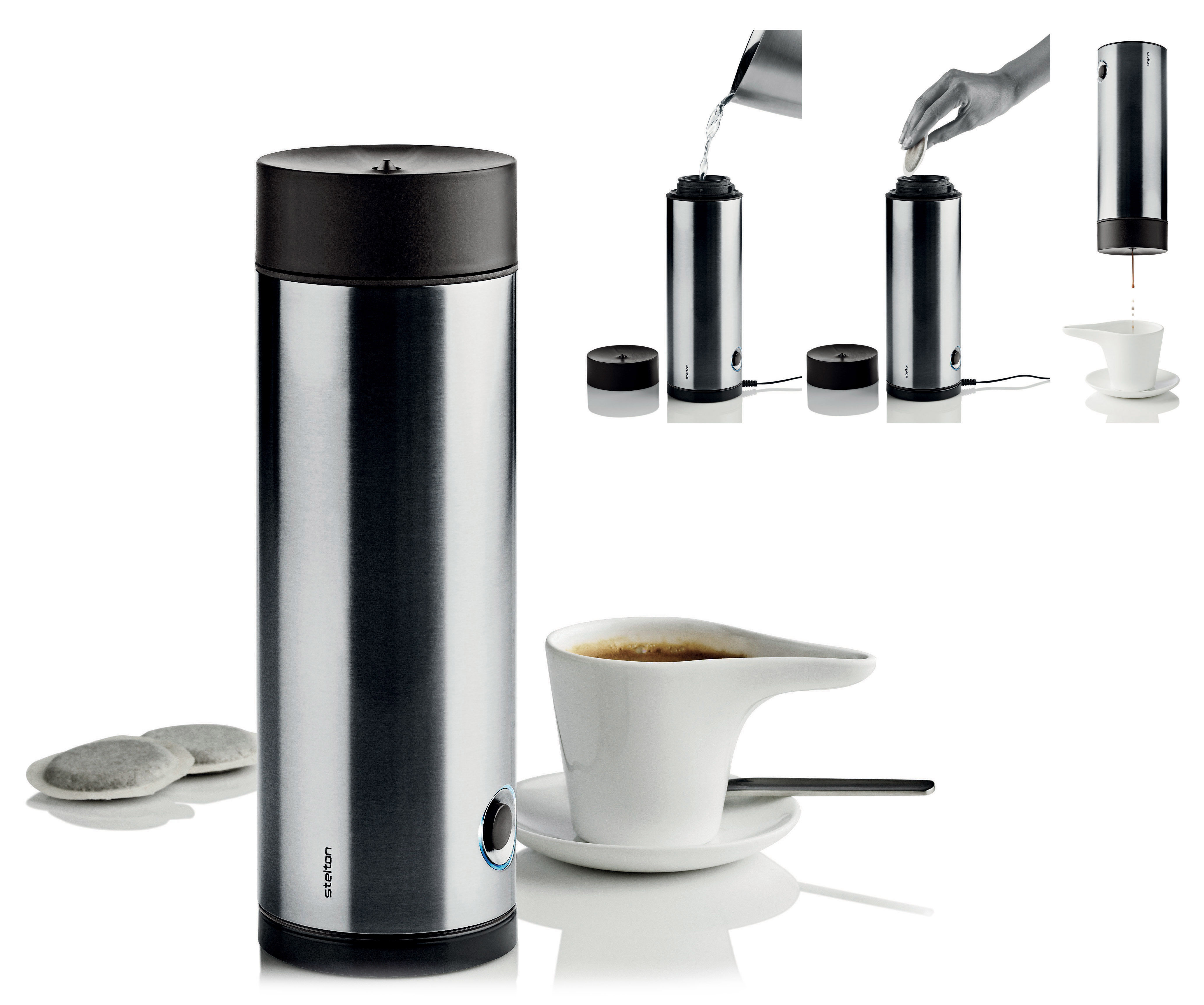 Kitchenware - Kitchen Appliances - Simply Electric espresso maker - Portable : With rechargeable battery by Stelton - Steel - Plastic, Stainless steel