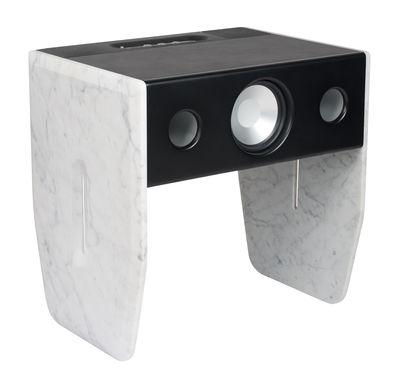 Enceinte Bluetooth Cube Marble Marbre blanc de Carrare La Boîte Concept noir,marbre blanc en métal