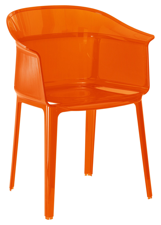 Mobilier - Chaises, fauteuils de salle à manger - Fauteuil empilable Papyrus / Polycarbonate - Kartell - Rouge orangé - Polycarbonate