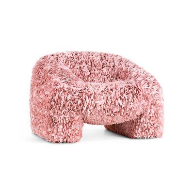 Mobilier - Fauteuils - Fauteuil rembourré Hortensia / 30 000 pétales en tissu - Moooi - Rose - Métal, Mousse, Tissu