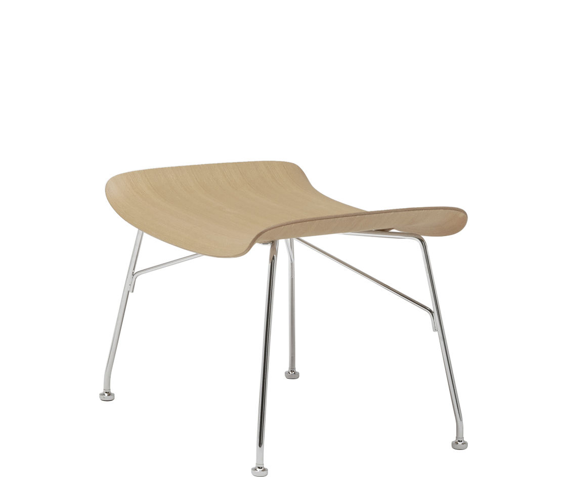 Furniture - Poufs & Floor Cushions - K/Wood Footrest - / Moulded wood by Kartell - Light beech / Chromed leg - Chromed steel, Moulded natural beech plywood
