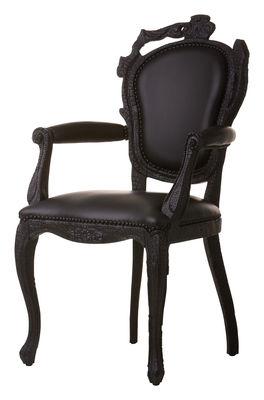 Möbel - Lounge Sessel - Smoke Dining Armchair Gepolsterter Sessel - Moooi - Schwarzes Leder - geflammtes Holz, Leder