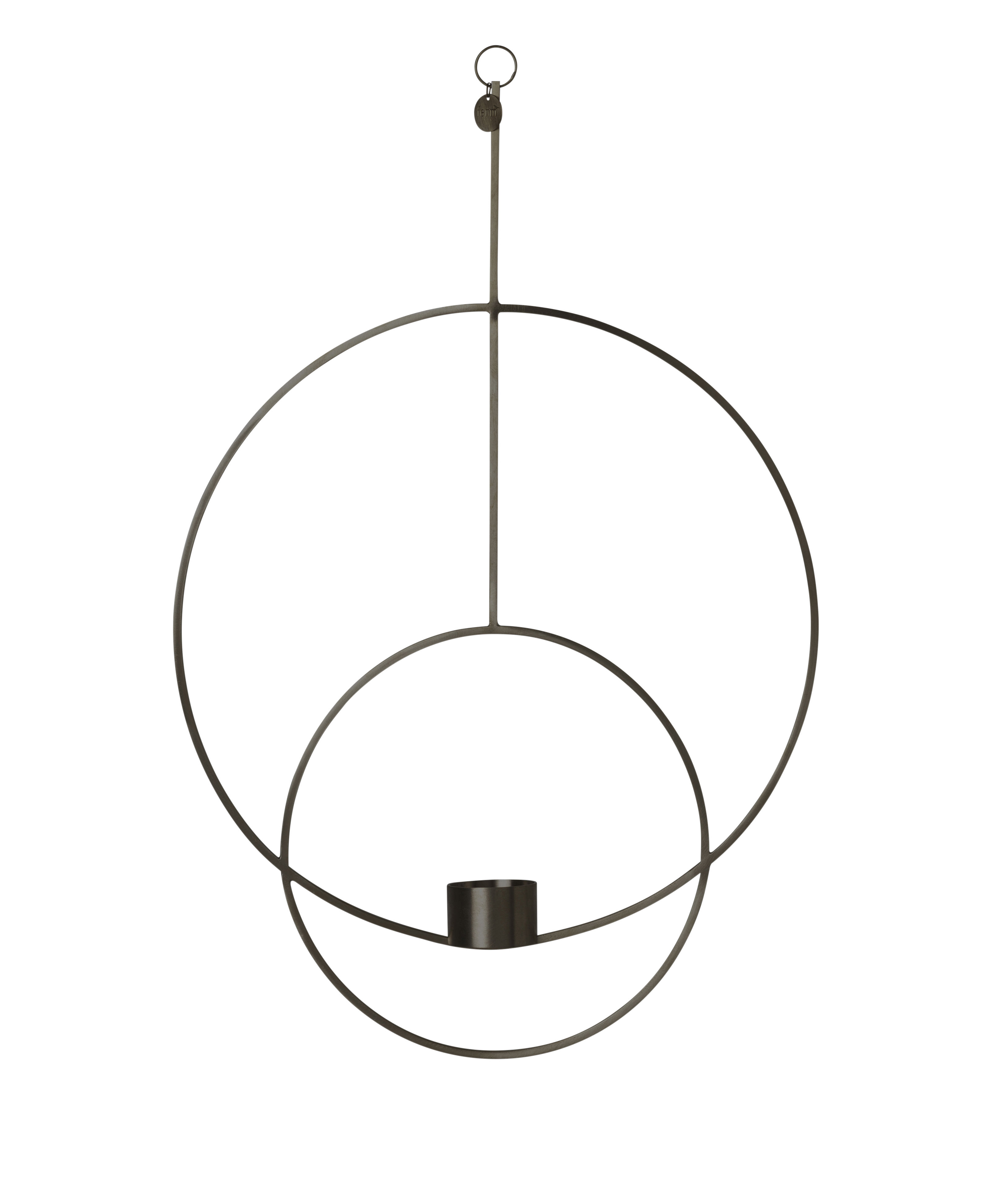 Dekoration - Kerzen, Kerzenleuchter und Windlichter - Circular Kerzenhalter zum Aufhängen / L 30 cm x H 45 cm - Ferm Living - Schwarz - Messing, bemalt