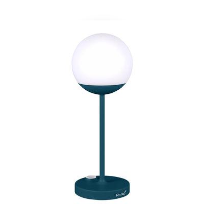 Illuminazione - Lampade da tavolo - Lampada senza fili Mooon! LED - / H 41 cm - Ricarica USB di Fermob - Blu Acapulco - Alluminio, Polietilene