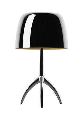 Luminaire - Lampes de table - Lampe de table Lumière Piccola / Interrupteur - H 35 cm - Edition 25 ans - Foscarini - Aluminium poli / Pied noir chromé - Aluminium poli, Verre soufflé