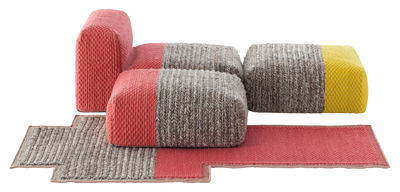 Furniture - Armchairs - n°1 Mangas Space Modular sofa - / 4 pieces - Module, pufs and rug by Gan - Yellow, Coral - Mousse caoutchouc, Virgin wool