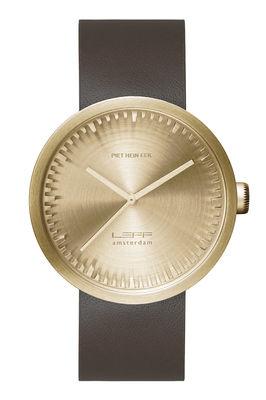 Accessoires - Montres - Montre D42 / Bracelet cuir - LEFF amsterdam - Laiton / Bracelet cuir brun - Acier inoxydable 316L brossé, Cuir, Verre