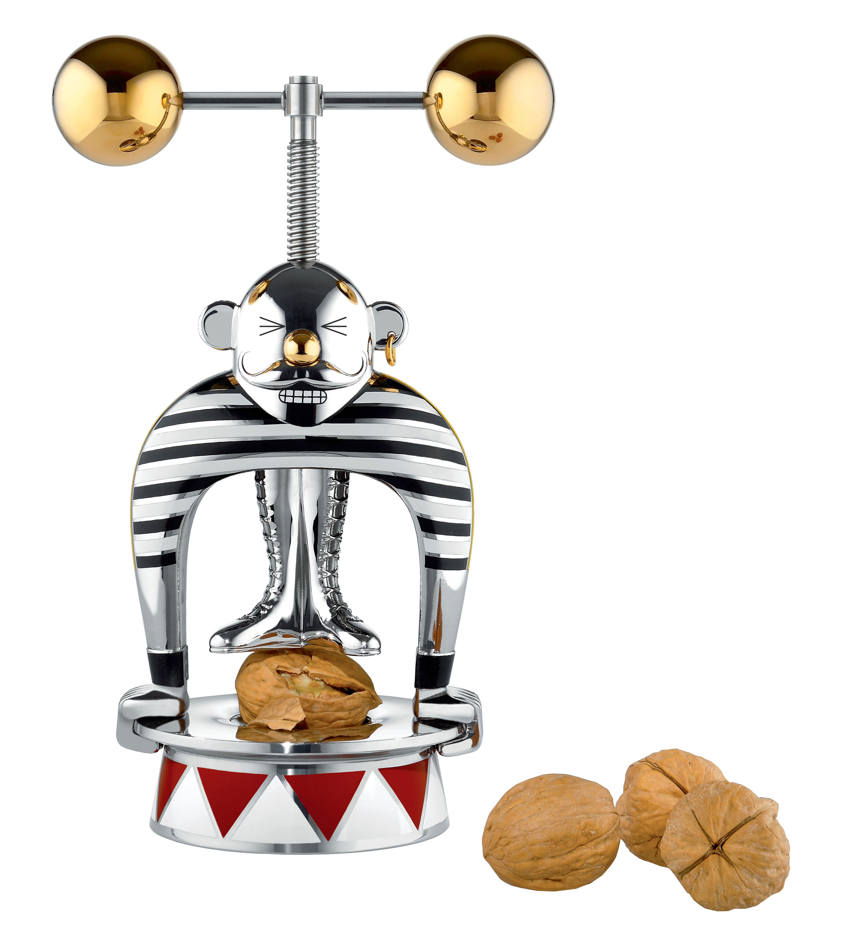 Tableware - Kitchen Accessories - Strongman Nut cracker - Circus - Numbered limited edition by Alessi - Stainless steel & gold - Painted stainless steel