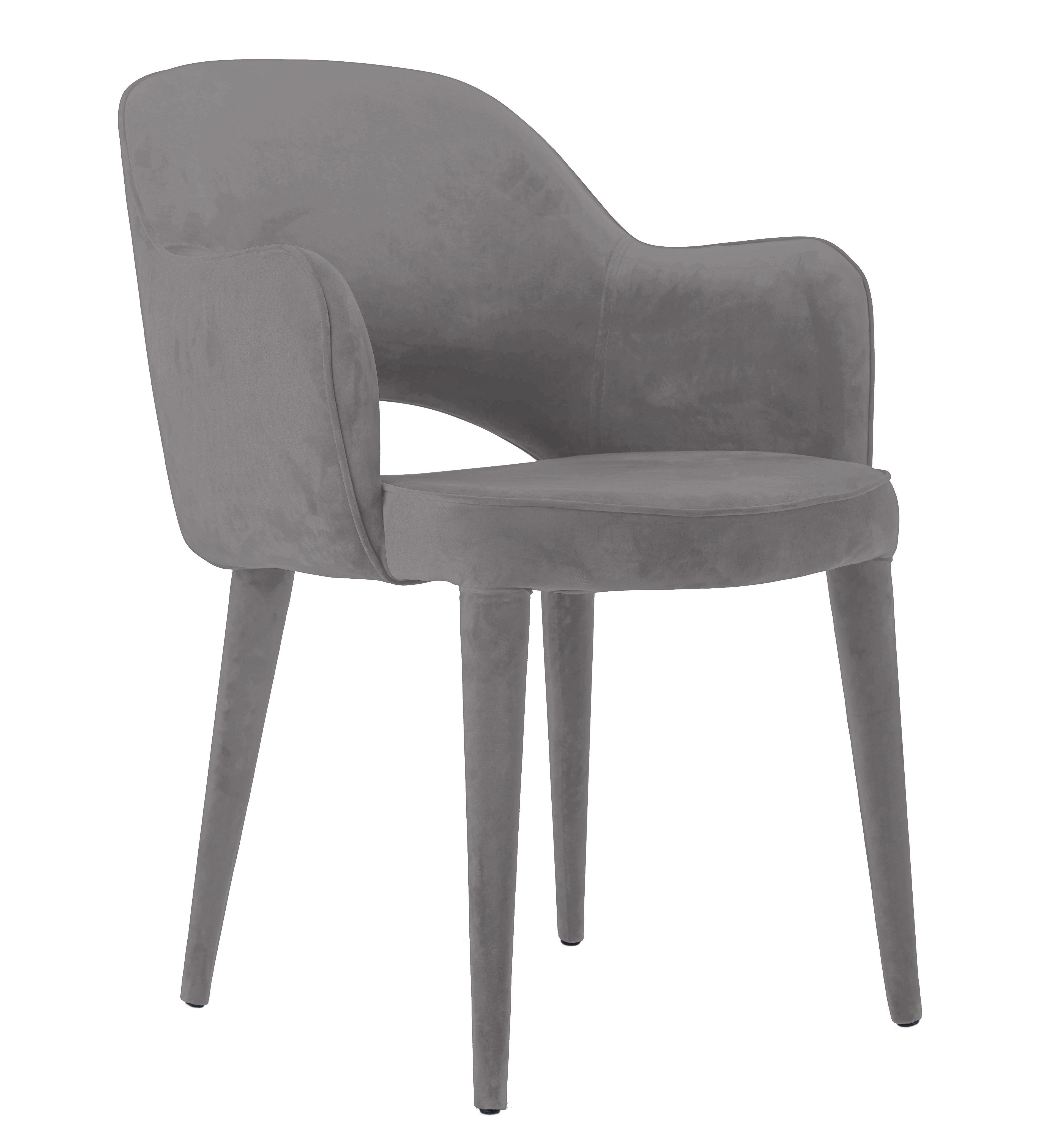 Furniture - Armchairs - Cosy Padded armchair - Velvet by Pols Potten - Mouse grey velvet - Foam, Metal, Velvet