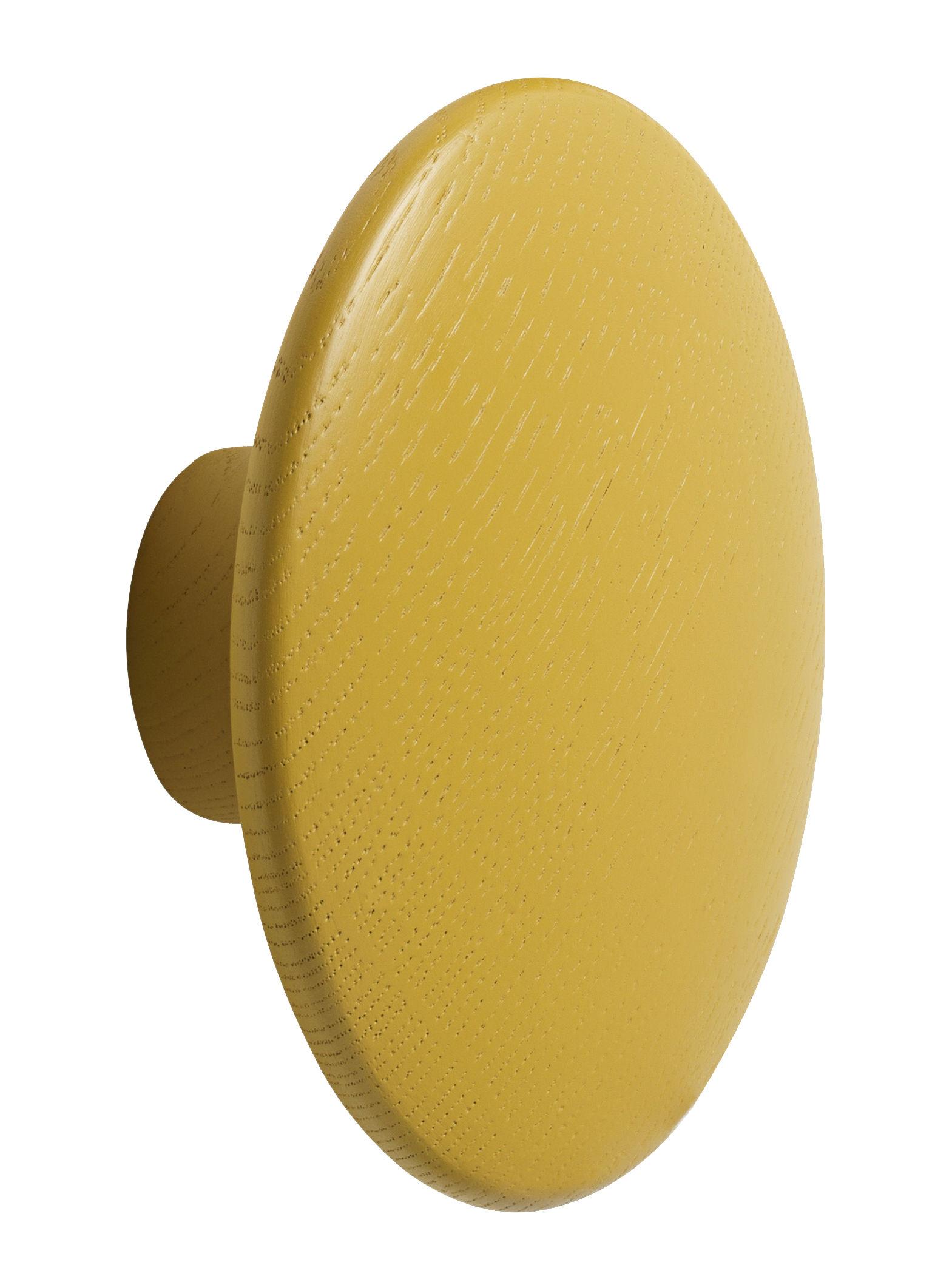 Mobilier - Portemanteaux, patères & portants - Patère The Dots Wood / Medium - Ø 13 cm - Muuto - Jaune moutarde - Frêne teinté