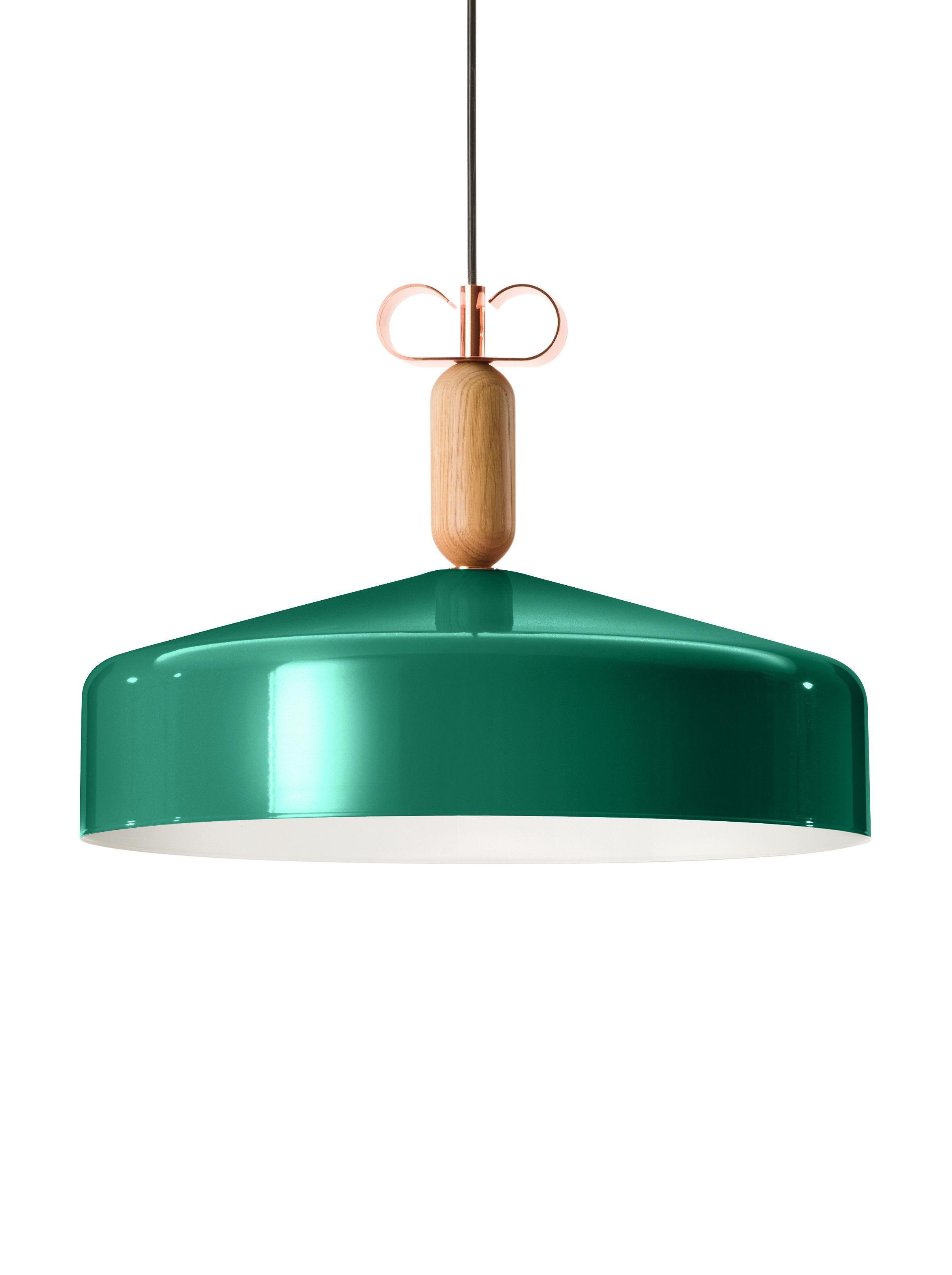 Lighting - Pendant Lighting - Bon Ton Pendant - Ø 45 cm - Exclusivity by Torremato - Glossy green / White - Oak, Varnished aluminium
