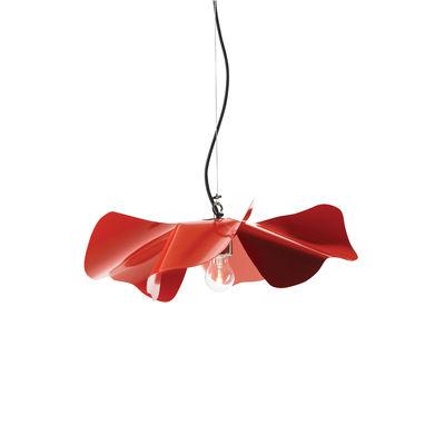 Lighting - Pendant Lighting - Papavero Small Pendant - / Ø 45 cm- Steel by Opinion Ciatti - Red - Fabric, Stainless steel