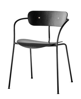 Arredamento - Sedie  - Poltrona impilabile Pavilion AV2 - / Legno laccato di &tradition - Rovere laccato nero - Acciaio, Rovere